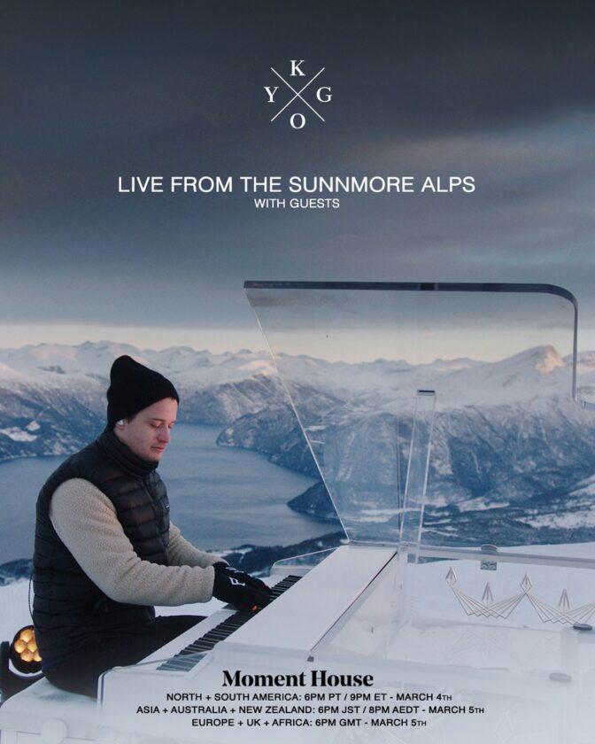Plakat promujący występ Kygo Sunnmore Alps na platformie Moment House
